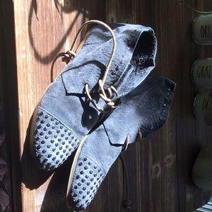 blackstone gray suede booties